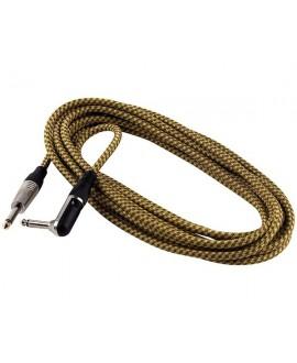 Cable Acodado Jack-Jack Rockcable Tela Oro 3 Metros