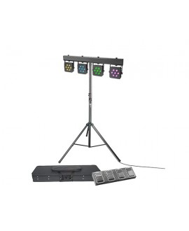 Set Proyectores LED 28x3 W TriColor Adam Hall Pedal y Soporte