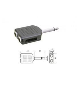 Adaptador Mono 6.35 mm a Doble Hembra Mono 6.35 mm.